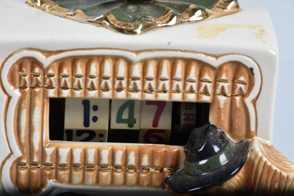 1949 CERAMIC TELE-VISION, ORGAN GRINDER CLOCK - 2