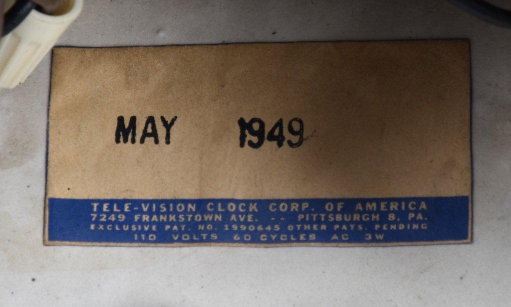 1949 CERAMIC TELE-VISION, ORGAN GRINDER CLOCK - 4