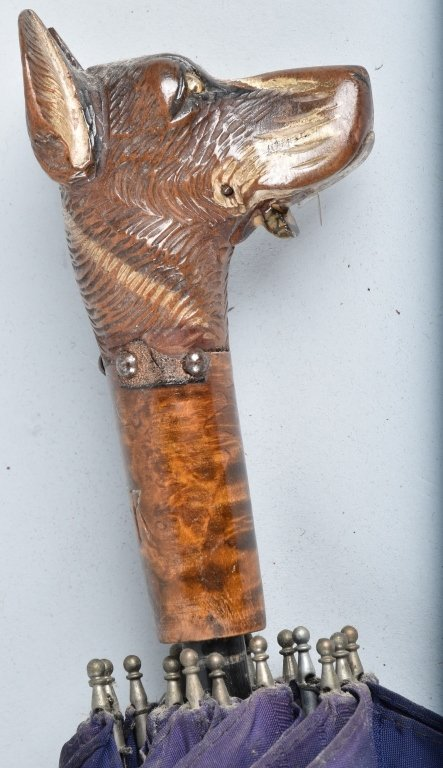 VINTAGE PARISOL w/ CARVED DOG HEAD HANDLE - 2