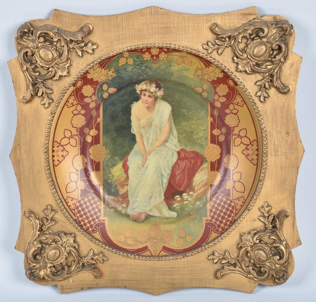 1900s ROYAL SAXONY TIN ART PLATE w/ FRAME
