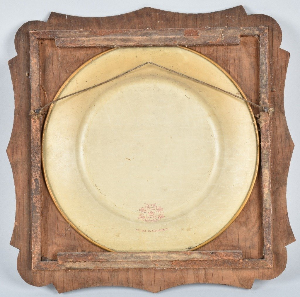 1900s ROYAL SAXONY TIN ART PLATE w/ FRAME - 3
