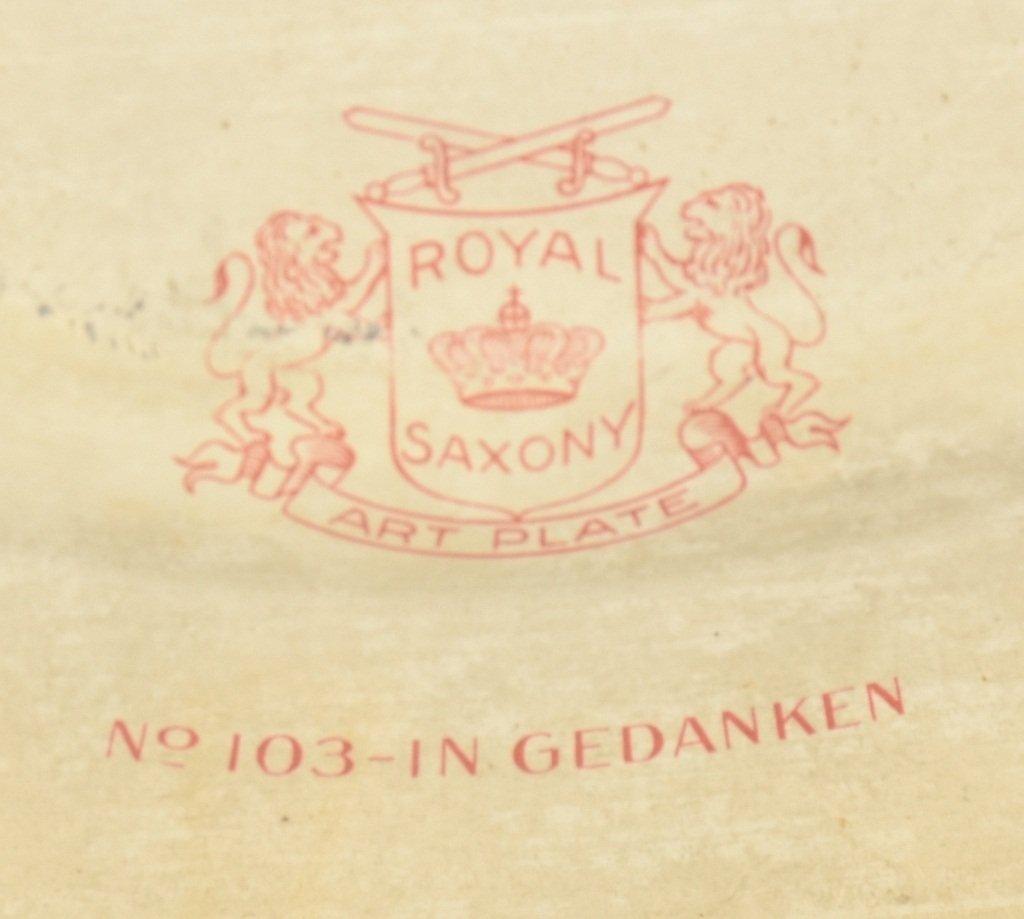 1900s ROYAL SAXONY TIN ART PLATE w/ FRAME - 4