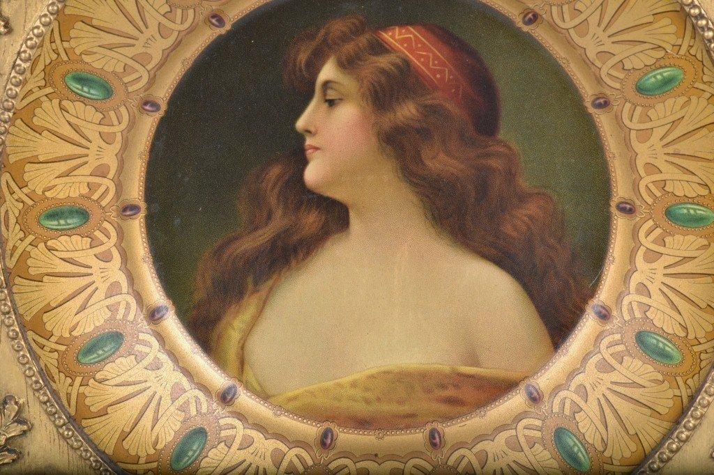 1900s ROYAL SAXONY TIN ART PLATE w/ FRAME - 2