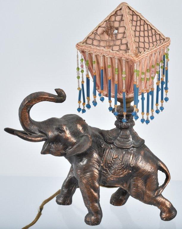VINTAGE FIGURAL ELEPHANT LAMP w/ SILK SHADE