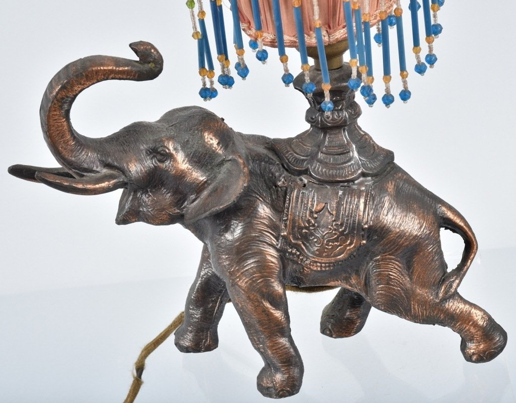 VINTAGE FIGURAL ELEPHANT LAMP w/ SILK SHADE - 2