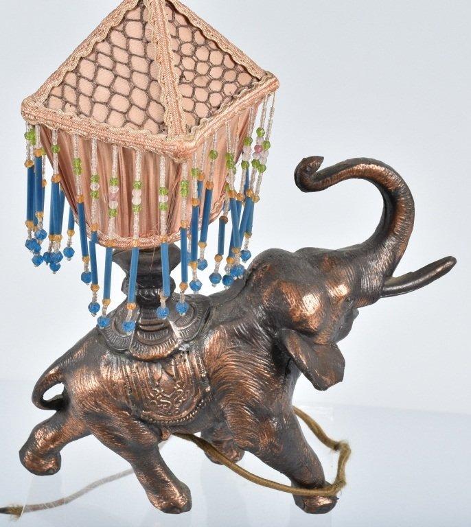 VINTAGE FIGURAL ELEPHANT LAMP w/ SILK SHADE - 3