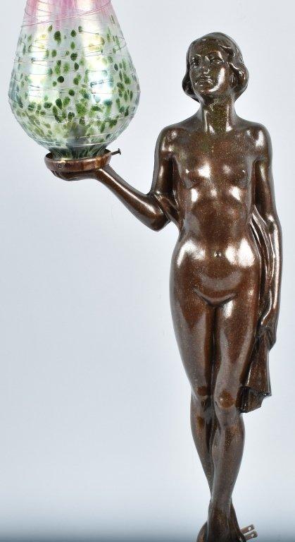 MODERN FIGURAL NUDE LAMP w/ ART GLASS SHADE - 3