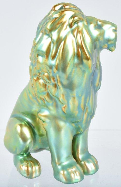 ZSOLNAY EOSIN LION FIGURINE w/ TAG - 4