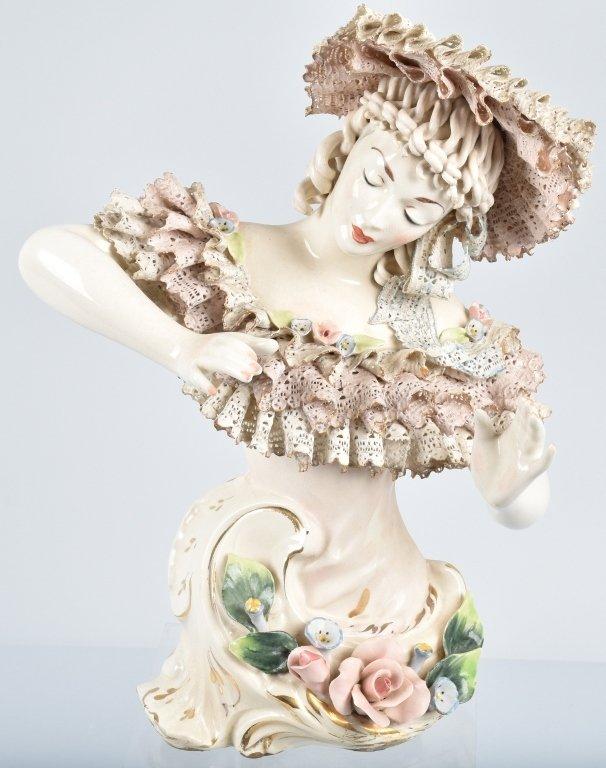 """15"""" DRESDEN HALF LADY w/ LACE & FLOWERS"""
