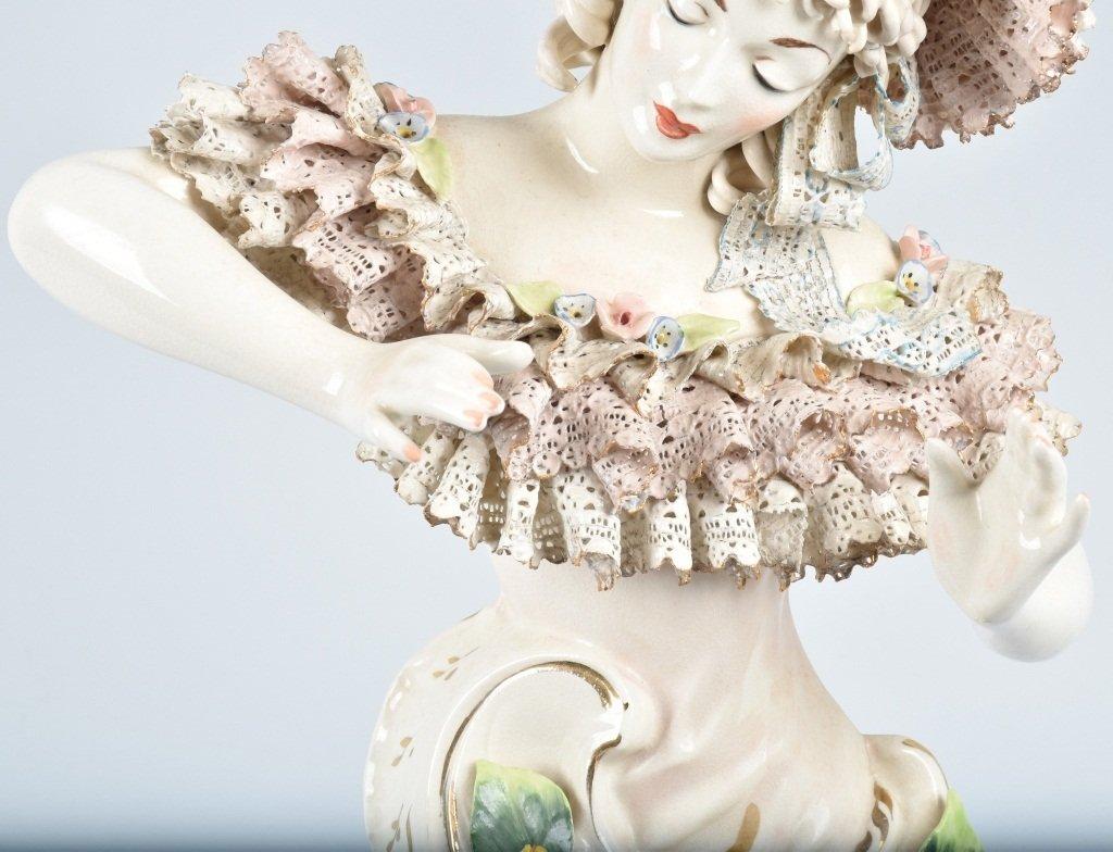 """15"""" DRESDEN HALF LADY w/ LACE & FLOWERS - 3"""