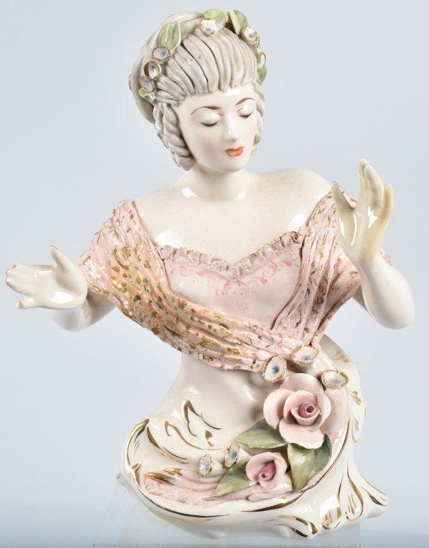 """14"""" DRESDEN HALF LADY w/ LACE & FLOWERS"""