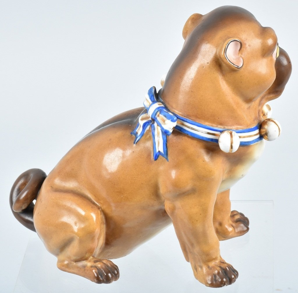 GERMAN 19TH CENTURY  PORCELAIN PUG DOG - 3