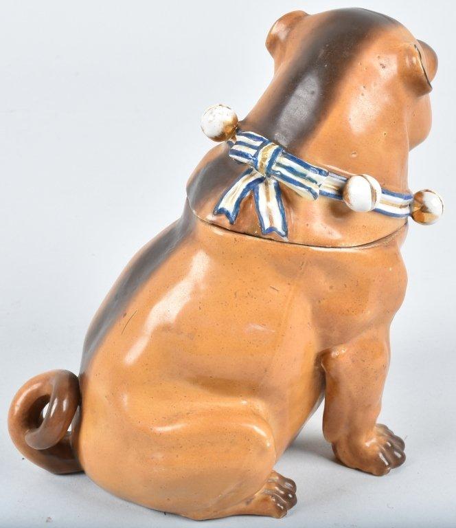 GERMAN 19TH CENTURY  PORCELAIN PUG DOG JAR - 3
