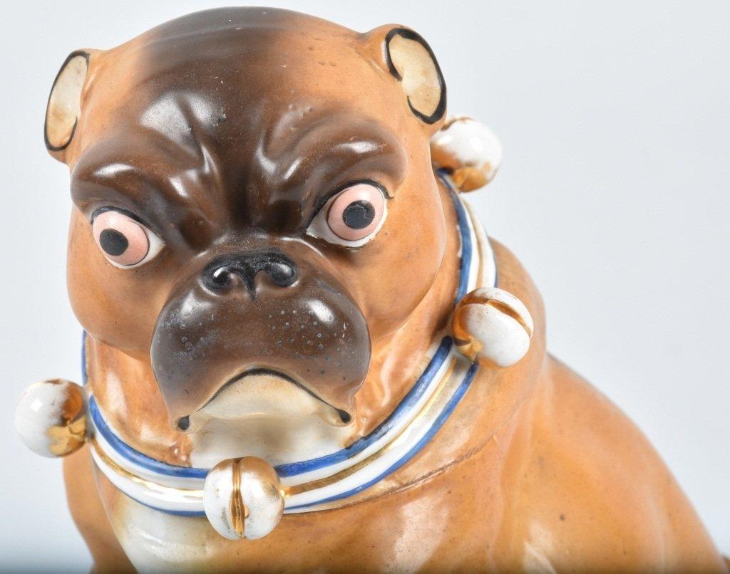 GERMAN 19TH CENTURY  PORCELAIN PUG DOG JAR - 4