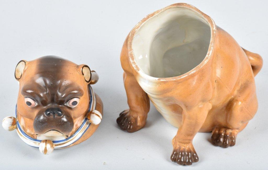 GERMAN 19TH CENTURY  PORCELAIN PUG DOG JAR - 5