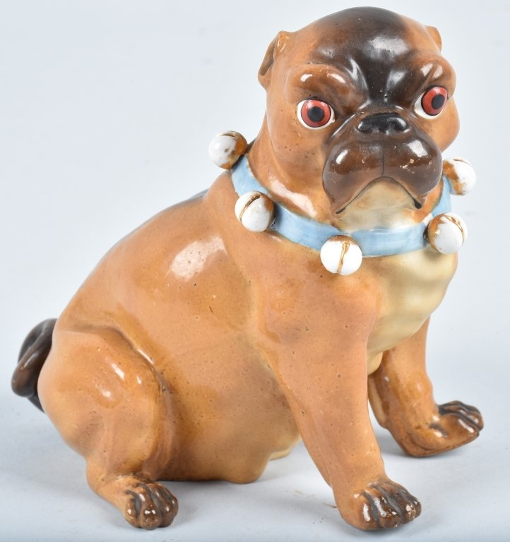 GERMAN 19TH CENTURY  PORCELAIN PUG DOG
