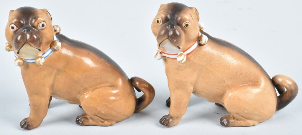 2-GERMAN 19TH CENTURY  PORCELAIN PUG DOGS