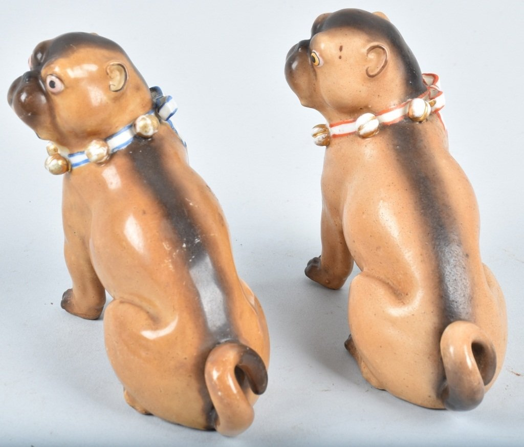 2-GERMAN 19TH CENTURY  PORCELAIN PUG DOGS - 2