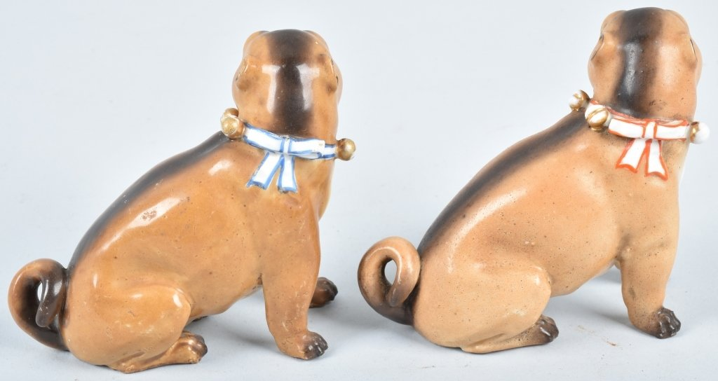 2-GERMAN 19TH CENTURY  PORCELAIN PUG DOGS - 3