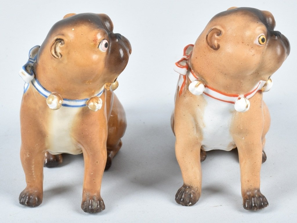 2-GERMAN 19TH CENTURY  PORCELAIN PUG DOGS - 4