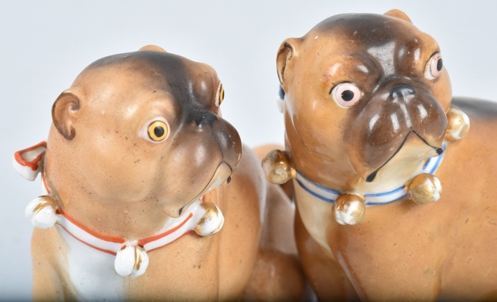 2-GERMAN 19TH CENTURY  PORCELAIN PUG DOGS - 5