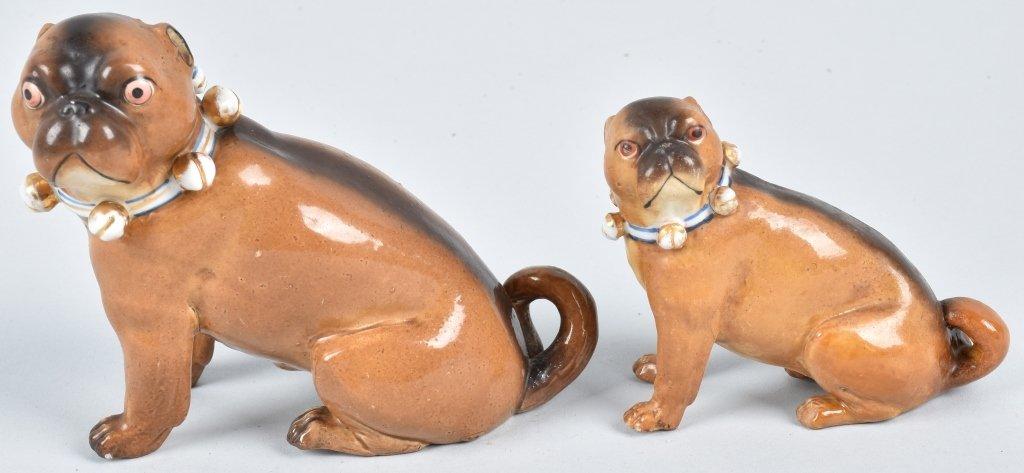 2-GERMAN 19TH CENTURY  PORCELAIN PUG DOGS