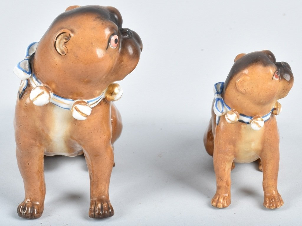 2-GERMAN 19TH CENTURY  PORCELAIN PUG DOGS - 4