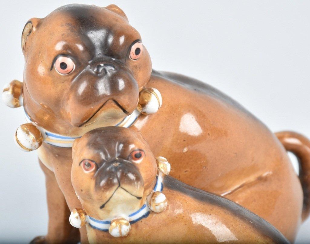 2-GERMAN 19TH CENTURY  PORCELAIN PUG DOGS - 5