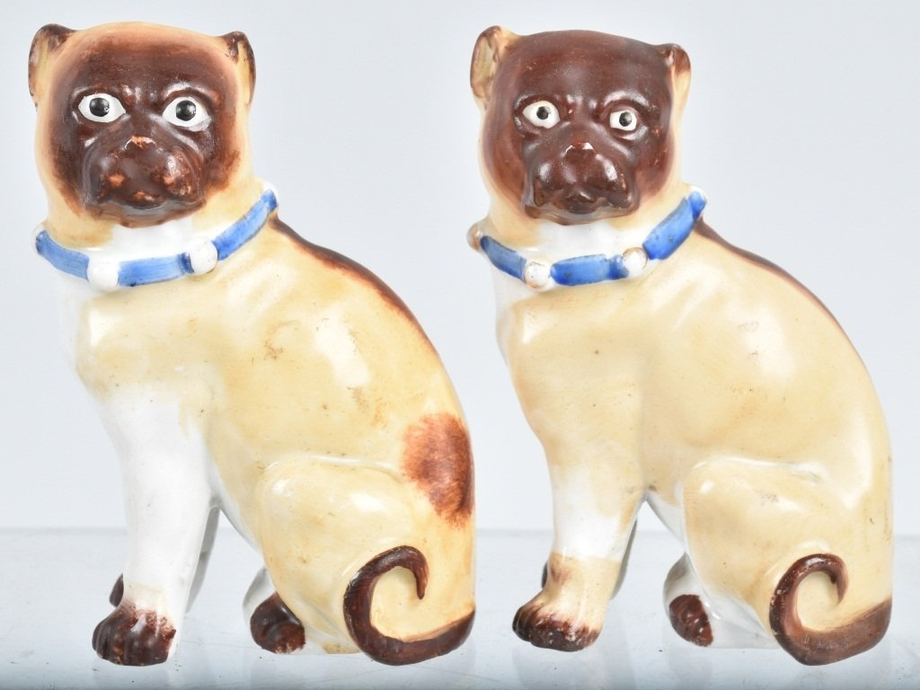 6-GERMAN 19TH CENTURY  PORCELAIN PUG DOGS - 2