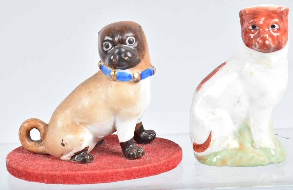 6-GERMAN 19TH CENTURY  PORCELAIN PUG DOGS - 4