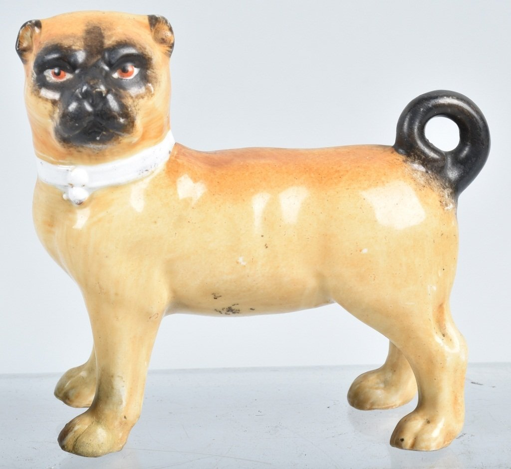 6-GERMAN 19TH CENTURY  PORCELAIN PUG DOGS - 6