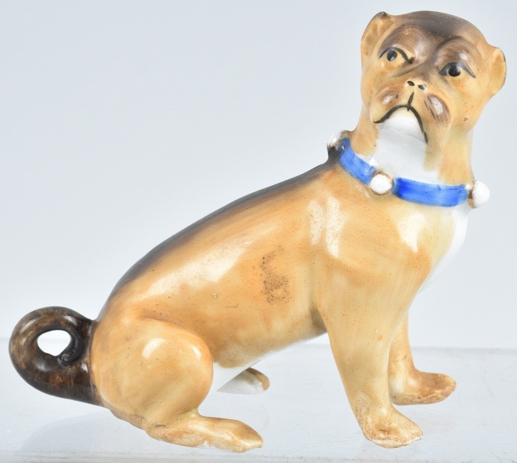 6-GERMAN 19TH CENTURY  PORCELAIN PUG DOGS - 8