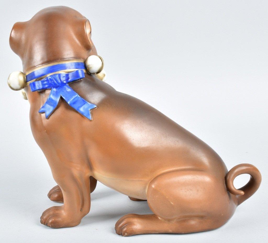 HUGE GERMAN 19TH CENTURY  PORCELAIN PUG DOG - 3
