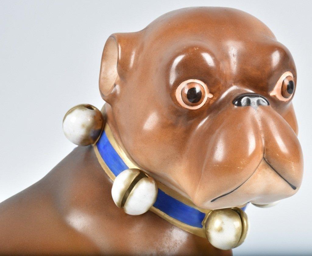 HUGE GERMAN 19TH CENTURY  PORCELAIN PUG DOG - 5