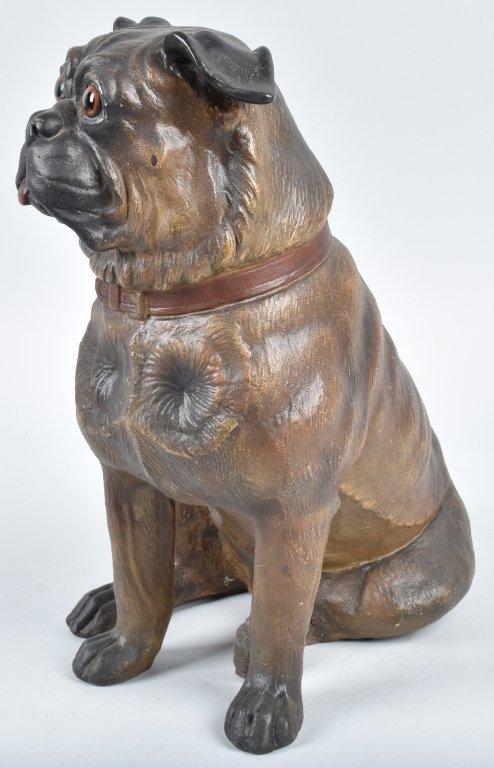 LARGE TERRA COTTA SCULPTURE, PUG DOG - 2