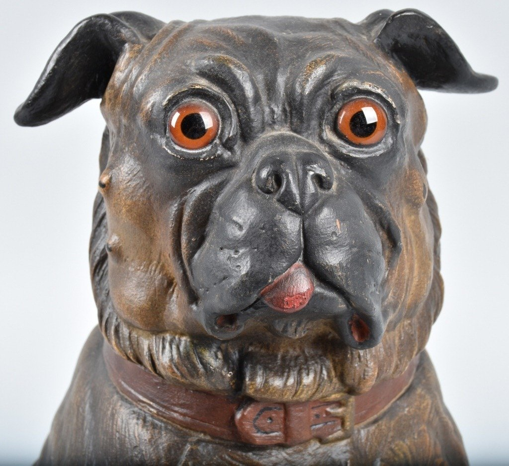 LARGE TERRA COTTA SCULPTURE, PUG DOG - 5