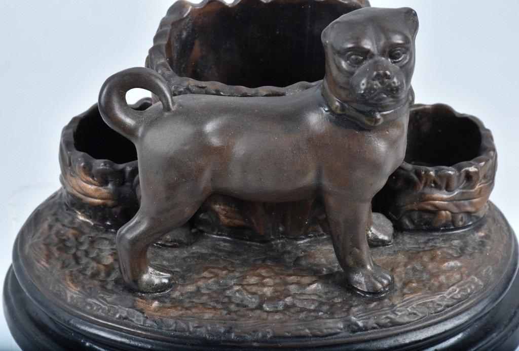 GERMAN CERAMIC PUG DOG DESK SET, VINTAGE - 5