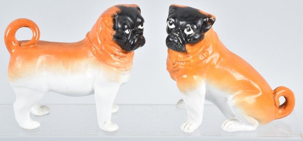 2-PORCELAIN PUG DOGS, VINTAGE