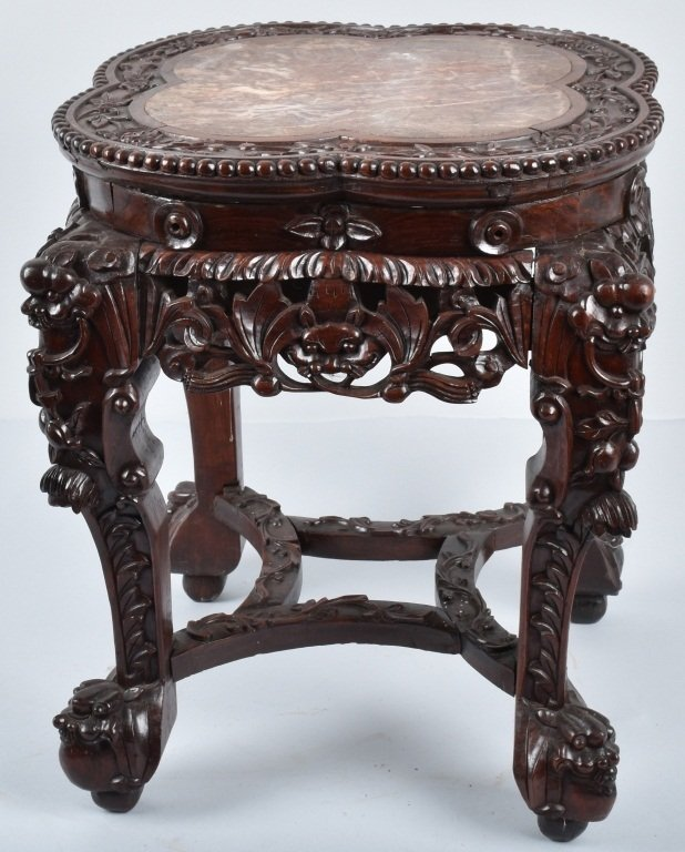 CHINESE EXPORT MARBLE TOP PLANT STAND, VINTAGE