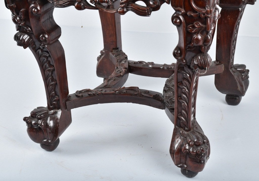 CHINESE EXPORT MARBLE TOP PLANT STAND, VINTAGE - 5