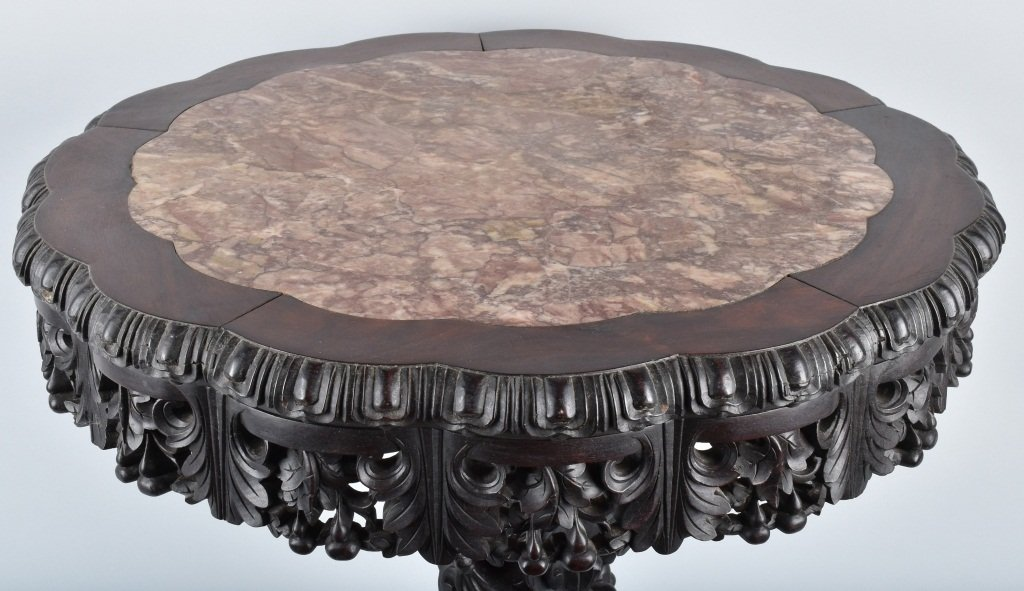 CHINESE EXPORT MARBLE TOP TABLE, VINTAGE - 2