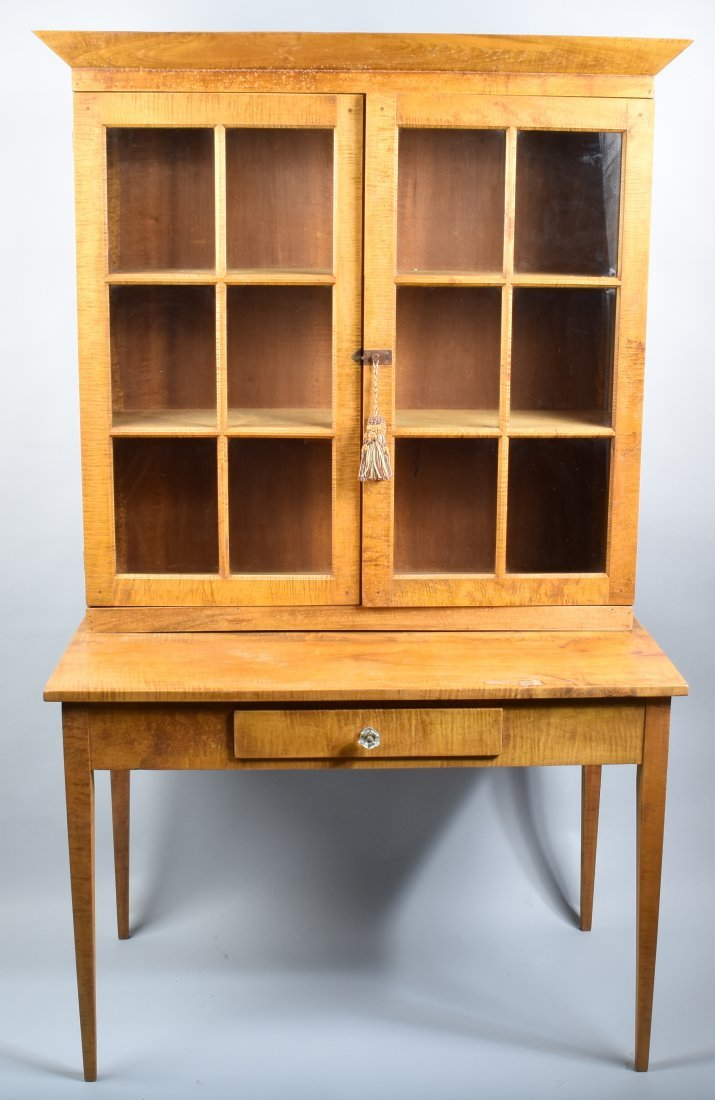 TIGER MAPLE CUPBOARD and MATCHING TABLE