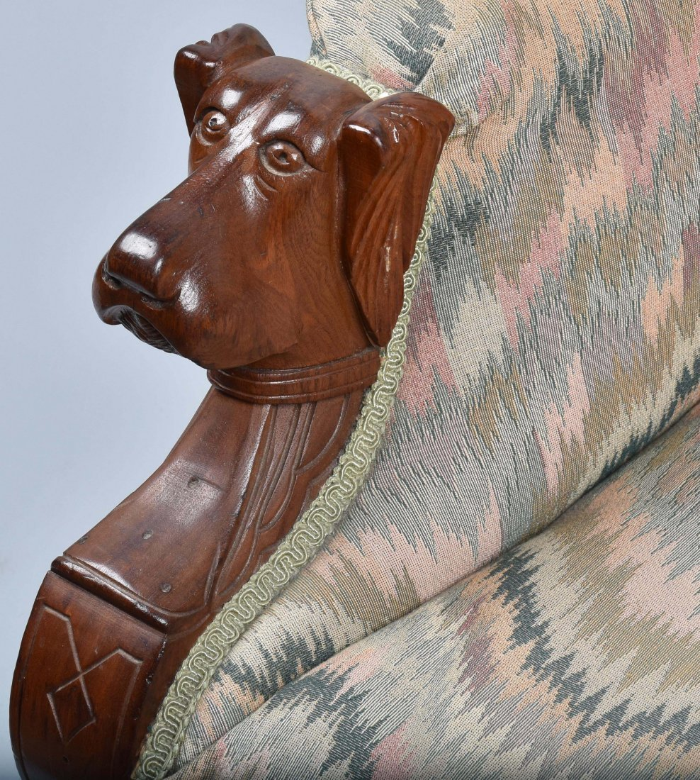 VICTORIAN UPHOLSTERED CHAIR with  DOG HEAD ARMS - 3