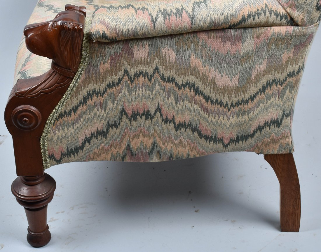 VICTORIAN UPHOLSTERED CHAIR with  DOG HEAD ARMS - 5