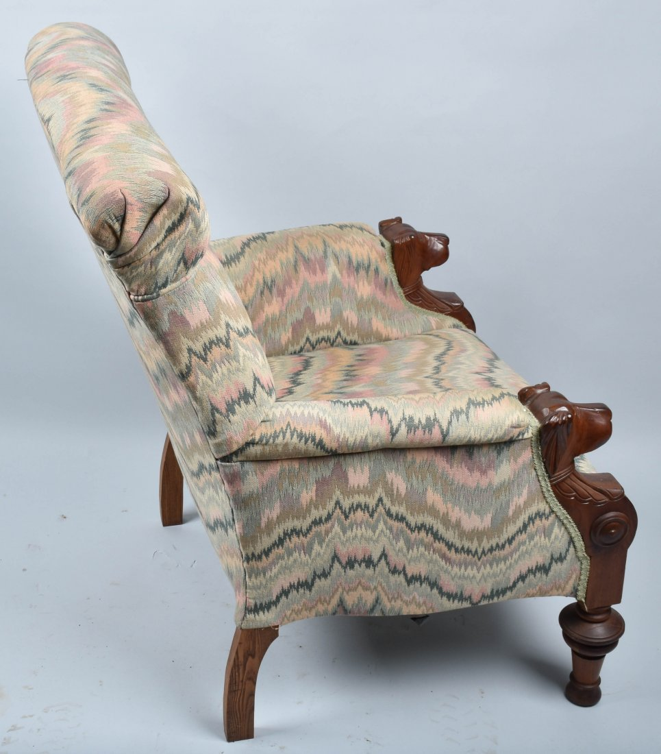VICTORIAN UPHOLSTERED CHAIR with  DOG HEAD ARMS - 7