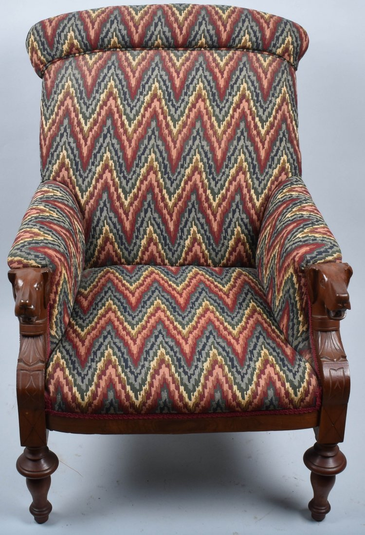 VICTORIAN UPHOLSTERED CHAIR with  DOG HEAD ARMS