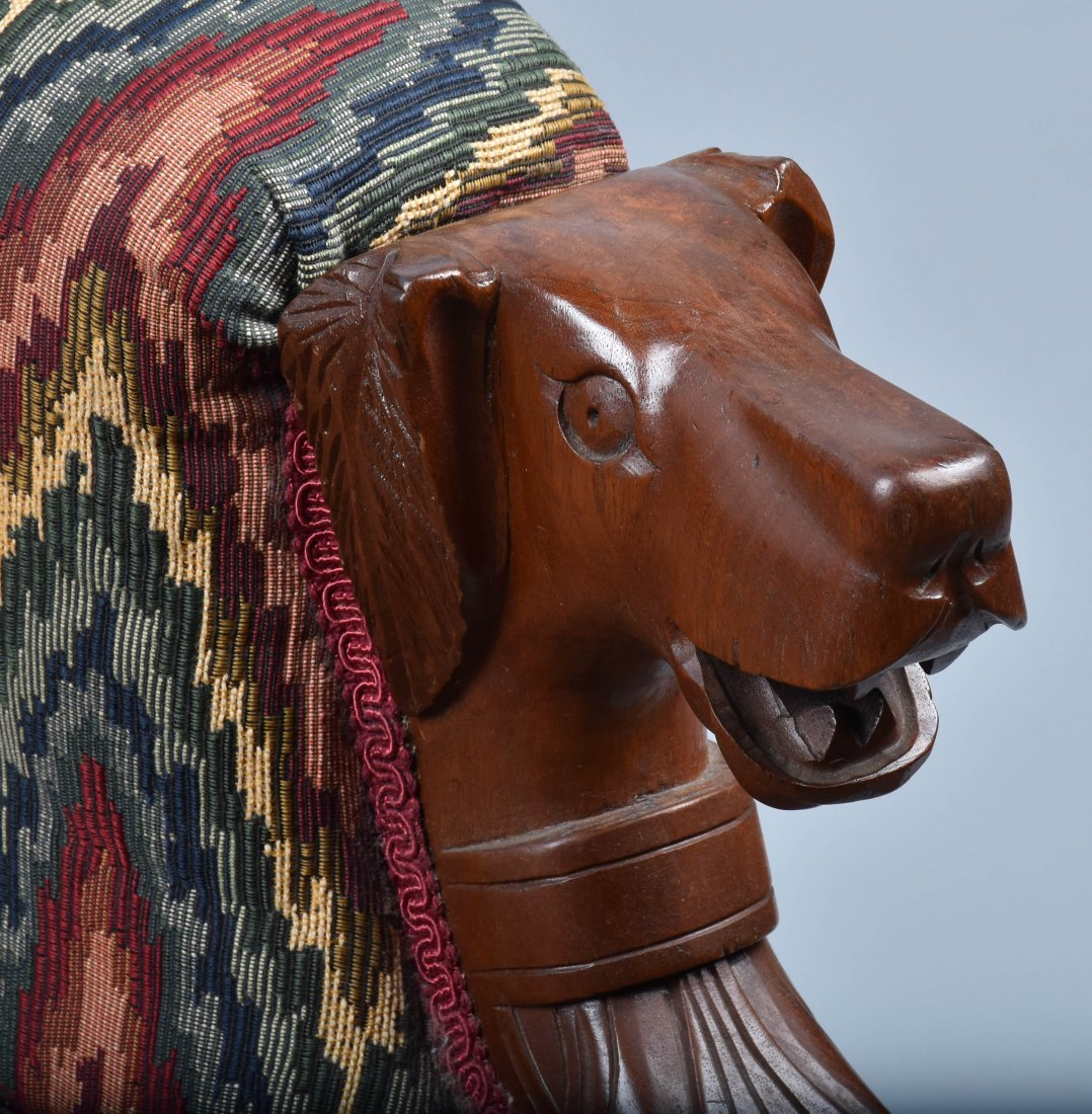 VICTORIAN UPHOLSTERED CHAIR with  DOG HEAD ARMS - 2