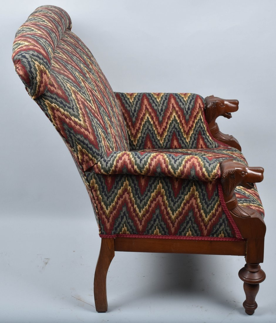 VICTORIAN UPHOLSTERED CHAIR with  DOG HEAD ARMS - 4