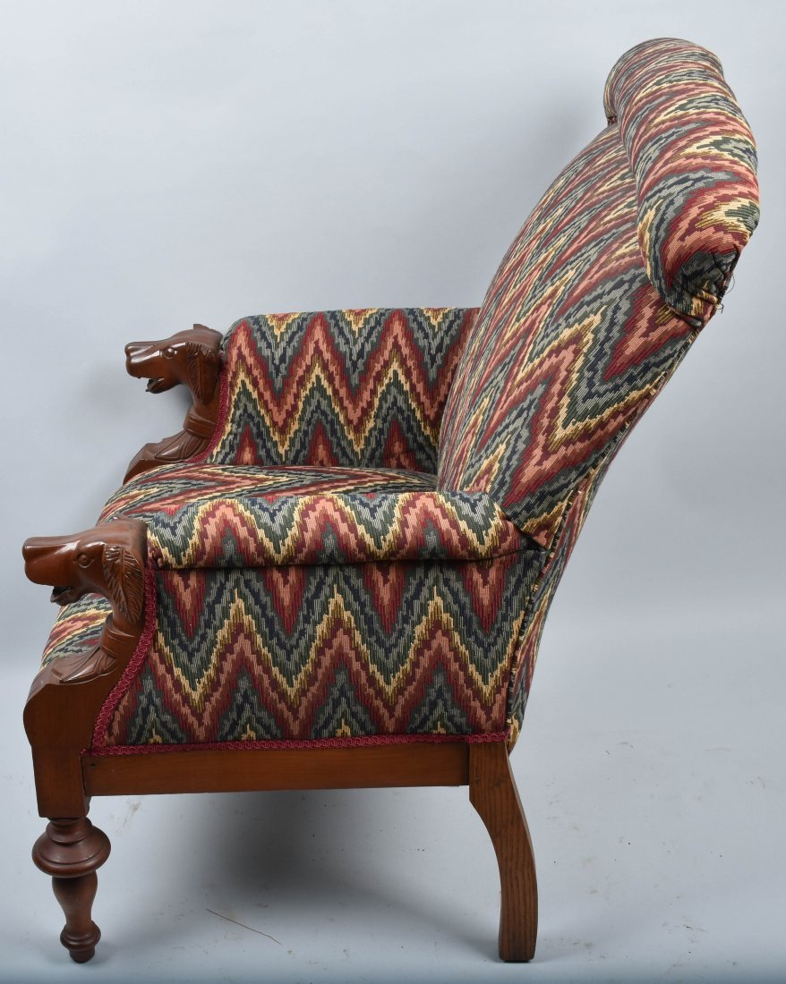 VICTORIAN UPHOLSTERED CHAIR with  DOG HEAD ARMS - 6