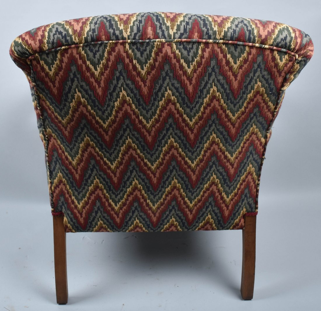 VICTORIAN UPHOLSTERED CHAIR with  DOG HEAD ARMS - 8